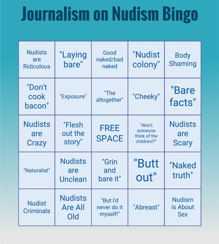 Bingo Card for Journalism about Nudism